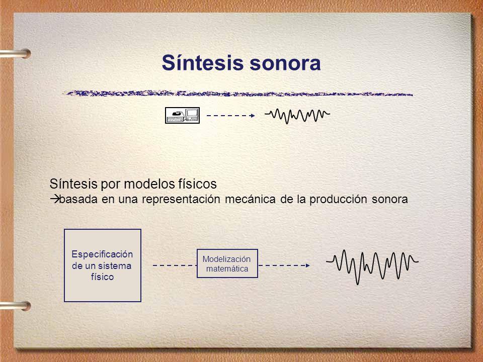 Síntesis sonora Síntesis por modelos físicos basada en una representación mecánica de la producción sonora Modelización matemática Especificación de un sistema físico