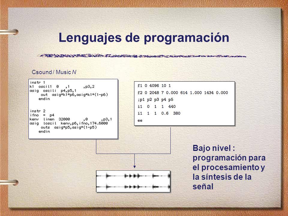 Lenguajes de programación Csound / Music N Bajo nivel : programación para el procesamiento y la síntesis de la señal