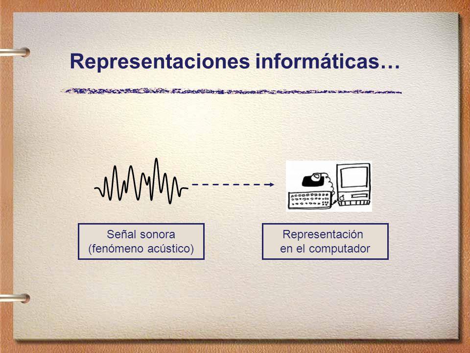 Representaciones informáticas… Señal sonora (fenómeno acústico) Representación en el computador