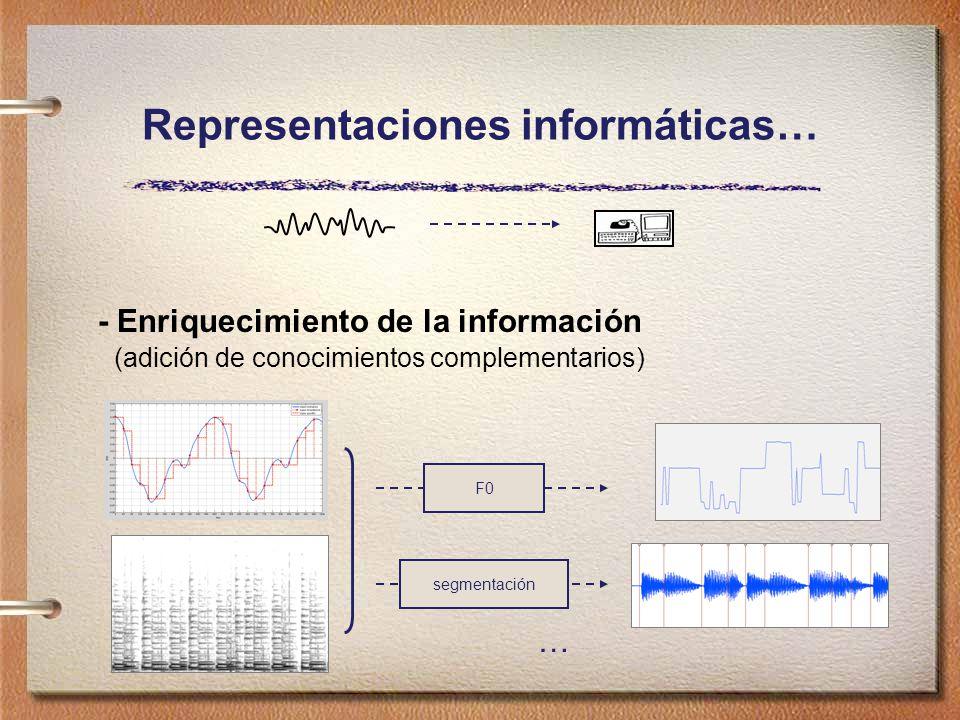 Representaciones informáticas… - Enriquecimiento de la información (adición de conocimientos complementarios) F0 segmentación …