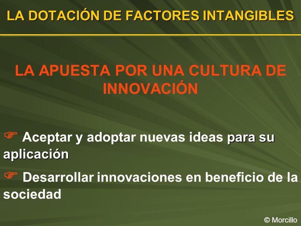 LA DOTACIÓN DE FACTORES INTANGIBLES © Morcillo LA APUESTA POR UNA CULTURA DE INNOVACIÓN para su aplicación Aceptar y adoptar nuevas ideas para su aplicación Desarrollar innovaciones en beneficio de la sociedad