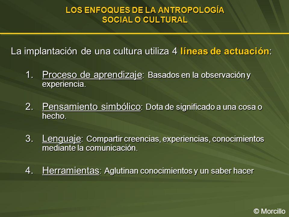 LOS ENFOQUES DE LA ANTROPOLOGÍA SOCIAL O CULTURAL © Morcillo La implantación de una cultura utiliza 4 líneas de actuación: 1.Proceso de aprendizaje : Basados en la observación y experiencia.