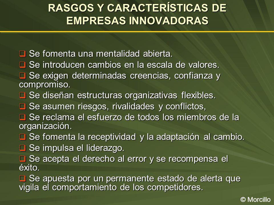 RASGOS Y CARACTERÍSTICAS DE EMPRESAS INNOVADORAS © Morcillo Se fomenta una mentalidad abierta.