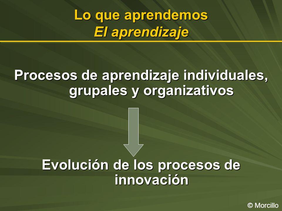 Lo que aprendemos El aprendizaje © Morcillo Procesos de aprendizaje individuales, grupales y organizativos Evolución de los procesos de innovación