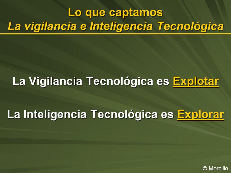 Lo que captamos La vigilancia e Inteligencia Tecnológica © Morcillo La Vigilancia Tecnológica es Explotar La Inteligencia Tecnológica es Explorar