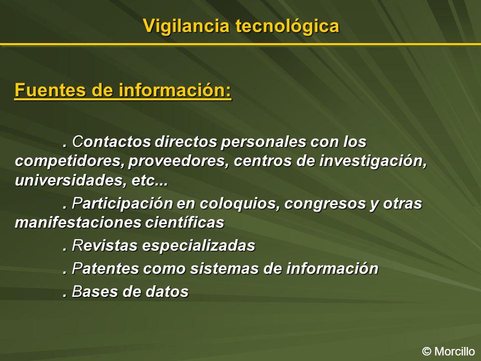 Vigilancia tecnológica © Morcillo Fuentes de información:.