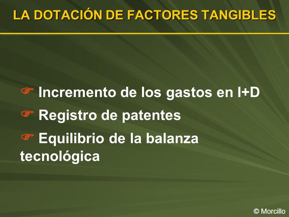 LA DOTACIÓN DE FACTORES TANGIBLES © Morcillo Incremento de los gastos en I+D Registro de patentes Equilibrio de la balanza tecnológica
