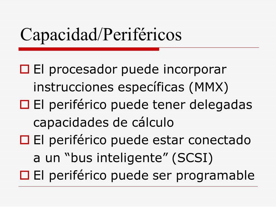 Capacidad/Periféricos El procesador puede incorporar instrucciones específicas (MMX) El periférico puede tener delegadas capacidades de cálculo El per