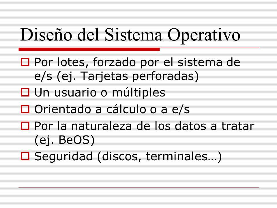 Diseño del Sistema Operativo Por lotes, forzado por el sistema de e/s (ej. Tarjetas perforadas) Un usuario o múltiples Orientado a cálculo o a e/s Por