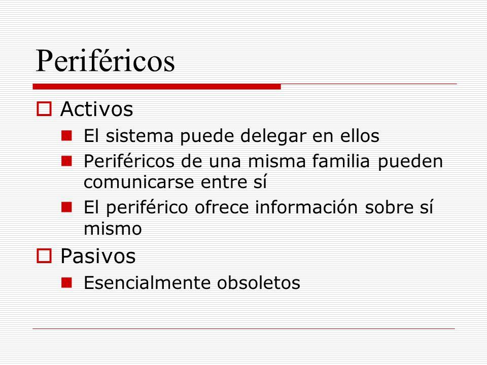Periféricos Activos El sistema puede delegar en ellos Periféricos de una misma familia pueden comunicarse entre sí El periférico ofrece información so