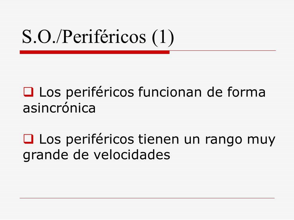 S.O./Periféricos (1) Los periféricos funcionan de forma asincrónica Los periféricos tienen un rango muy grande de velocidades