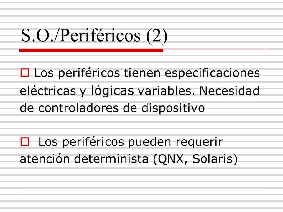 S.O./Periféricos (2) Los periféricos tienen especificaciones eléctricas y lógicas variables. Necesidad de controladores de dispositivo Los periféricos
