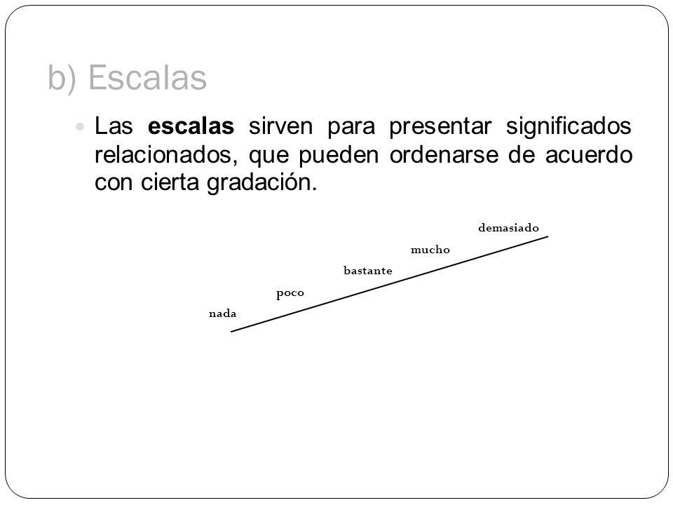 b) Escalas Las escalas sirven para presentar significados relacionados, que pueden ordenarse de acuerdo con cierta gradación. demasiado mucho bastante