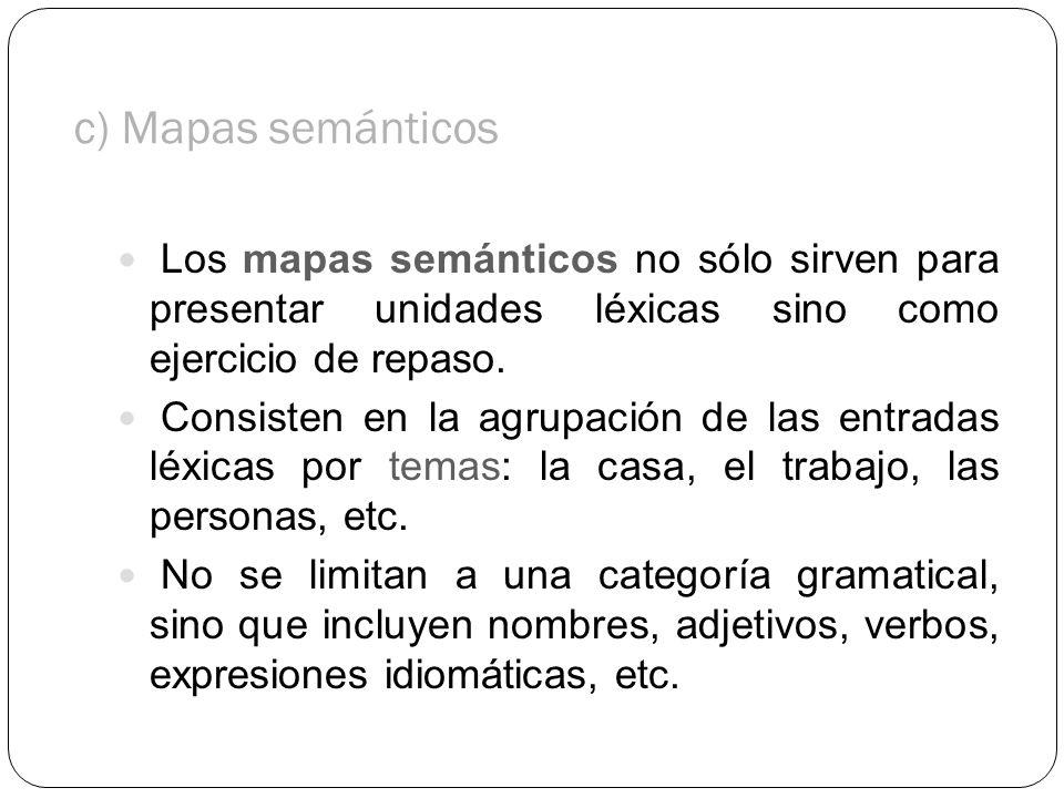c) Mapas semánticos Los mapas semánticos no sólo sirven para presentar unidades léxicas sino como ejercicio de repaso. Consisten en la agrupación de l