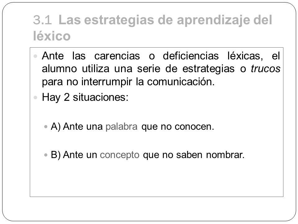 3.1 Las estrategias de aprendizaje del léxico Ante las carencias o deficiencias léxicas, el alumno utiliza una serie de estrategias o trucos para no i