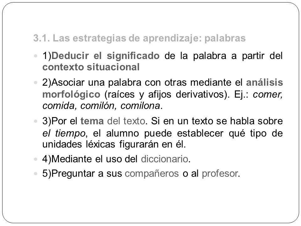 3.1. Las estrategias de aprendizaje: palabras 1)Deducir el significado de la palabra a partir del contexto situacional 2)Asociar una palabra con otras