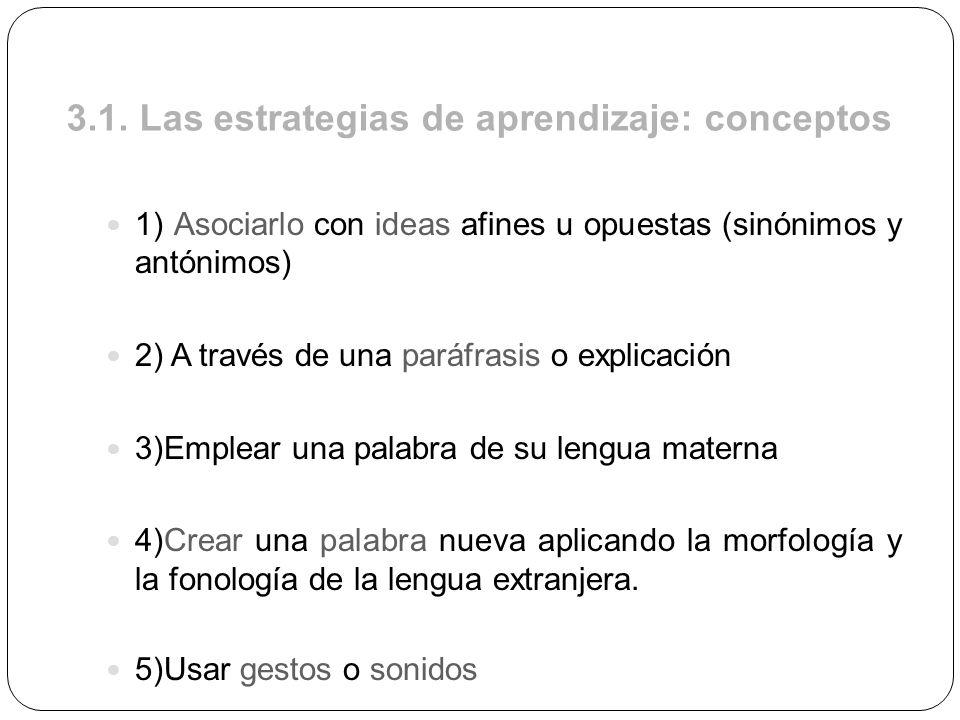 3.1. Las estrategias de aprendizaje: conceptos 1) Asociarlo con ideas afines u opuestas (sinónimos y antónimos) 2) A través de una paráfrasis o explic