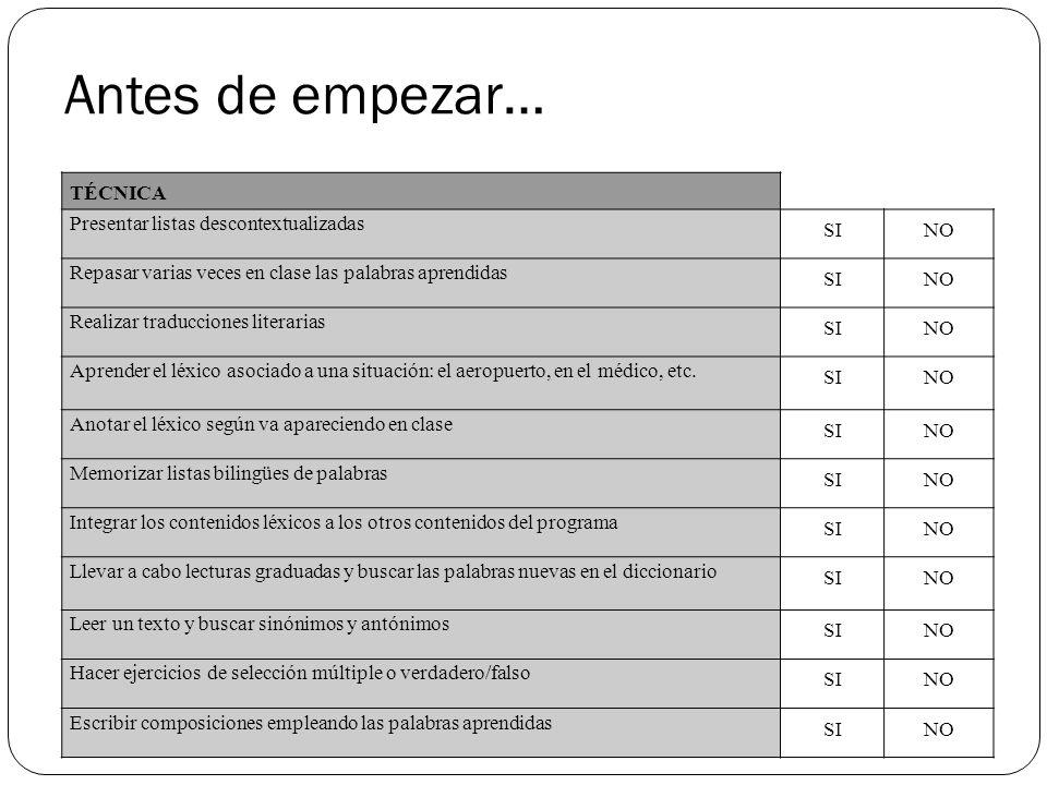 Antes de empezar… TÉCNICA Presentar listas descontextualizadas SINO Repasar varias veces en clase las palabras aprendidas SINO Realizar traducciones l