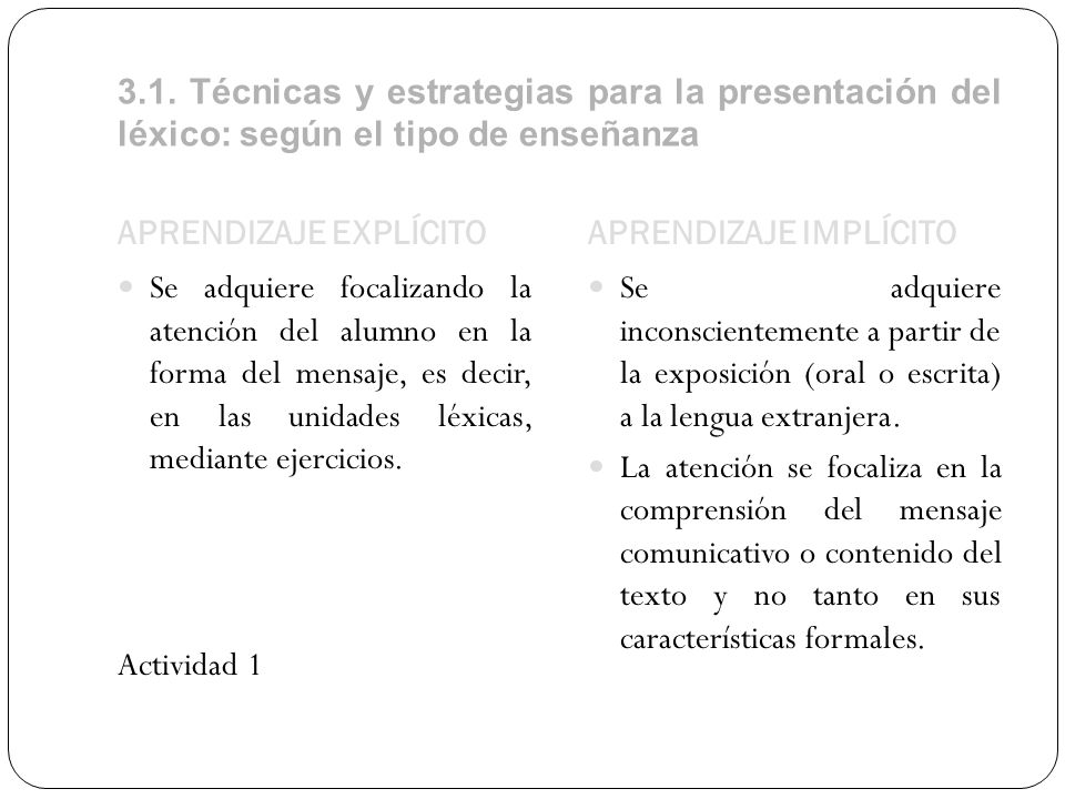 3.1. Técnicas y estrategias para la presentación del léxico: según el tipo de enseñanza APRENDIZAJE EXPLÍCITOAPRENDIZAJE IMPLÍCITO Se adquiere focaliz