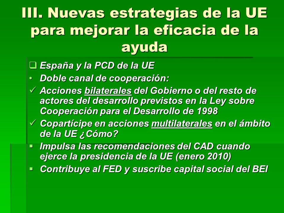 III. Nuevas estrategias de la UE para mejorar la eficacia de la ayuda España y la PCD de la UE España y la PCD de la UE Doble canal de cooperación:Dob