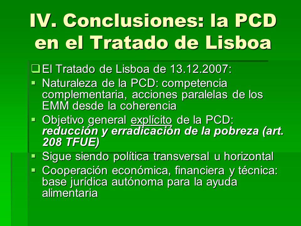 IV. Conclusiones: la PCD en el Tratado de Lisboa El Tratado de Lisboa de 13.12.2007: El Tratado de Lisboa de 13.12.2007: Naturaleza de la PCD: compete
