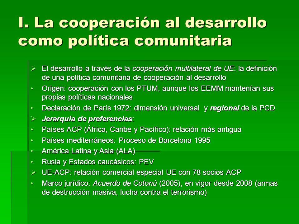I. La cooperación al desarrollo como política comunitaria El desarrollo a través de la cooperación multilateral de UE: la definición de una política c