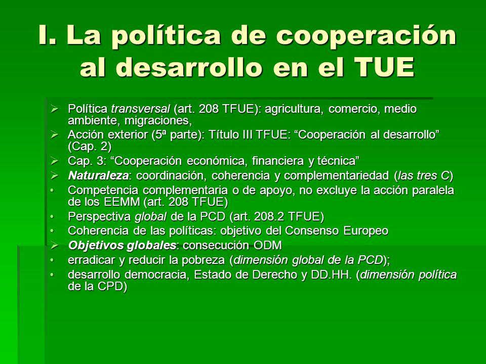 I. La política de cooperación al desarrollo en el TUE Política transversal (art. 208 TFUE): agricultura, comercio, medio ambiente, migraciones, Políti