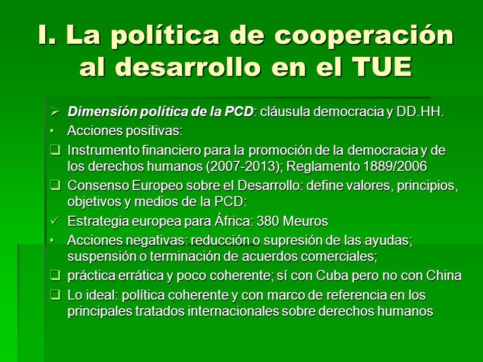 I. La política de cooperación al desarrollo en el TUE Dimensión política de la PCD: cláusula democracia y DD.HH. Dimensión política de la PCD: cláusul