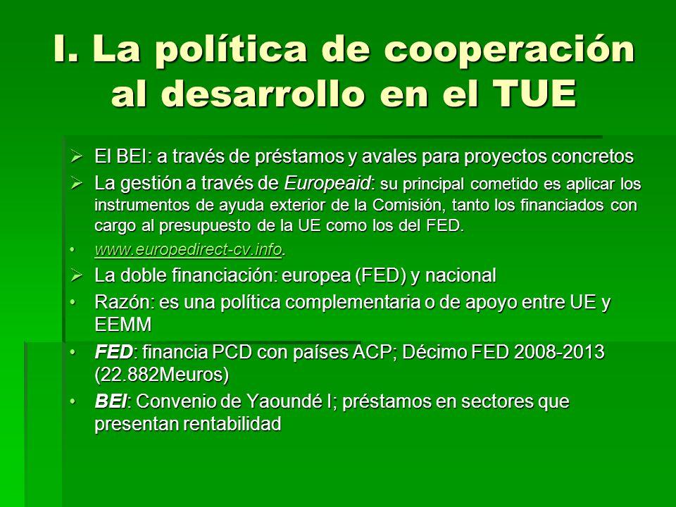 I. La política de cooperación al desarrollo en el TUE El BEI: a través de préstamos y avales para proyectos concretos El BEI: a través de préstamos y