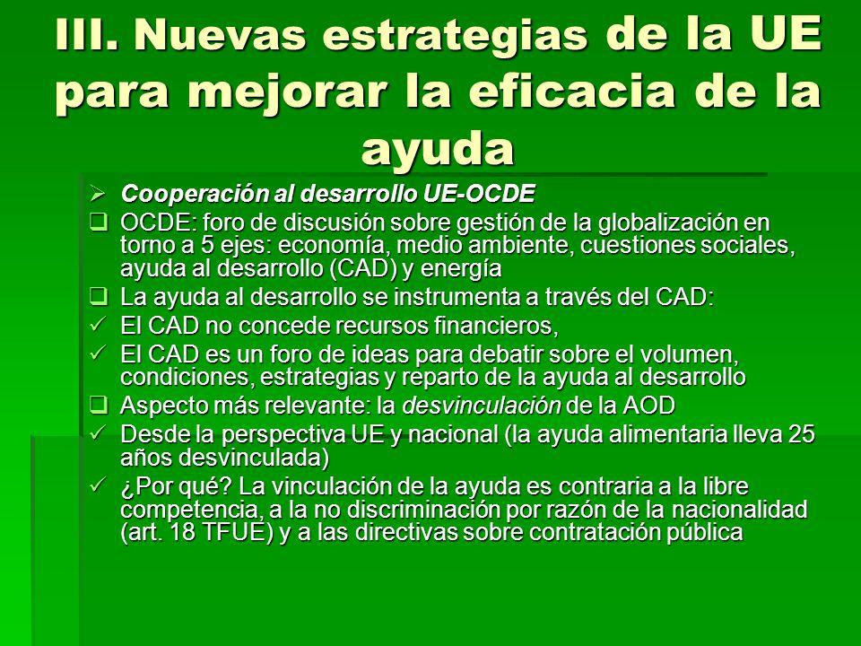 III. Nuevas estrategias de la UE para mejorar la eficacia de la ayuda Cooperación al desarrollo UE-OCDE Cooperación al desarrollo UE-OCDE OCDE: foro d