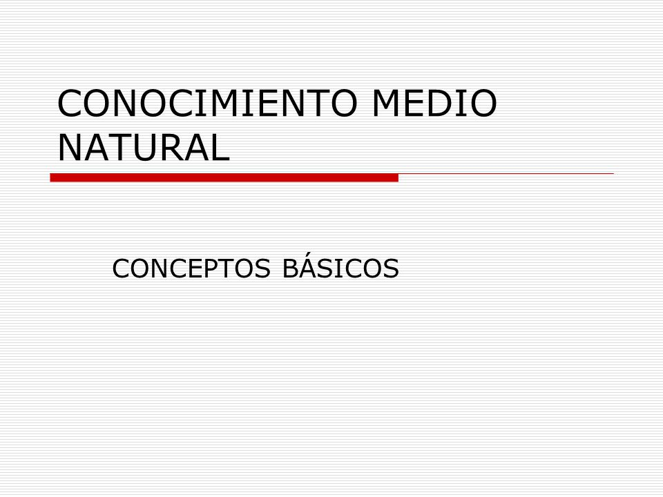 CONOCIMIENTO MEDIO NATURAL CONCEPTOS BÁSICOS