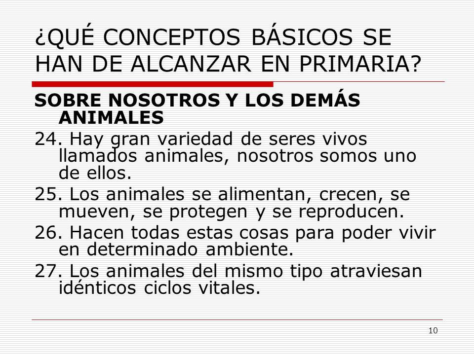10 ¿QUÉ CONCEPTOS BÁSICOS SE HAN DE ALCANZAR EN PRIMARIA? SOBRE NOSOTROS Y LOS DEMÁS ANIMALES 24. Hay gran variedad de seres vivos llamados animales,