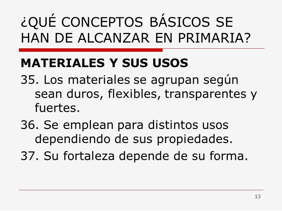 13 ¿QUÉ CONCEPTOS BÁSICOS SE HAN DE ALCANZAR EN PRIMARIA? MATERIALES Y SUS USOS 35. Los materiales se agrupan según sean duros, flexibles, transparent