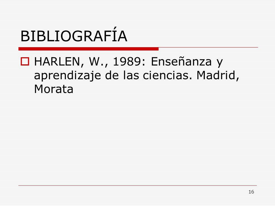 16 BIBLIOGRAFÍA HARLEN, W., 1989: Enseñanza y aprendizaje de las ciencias. Madrid, Morata
