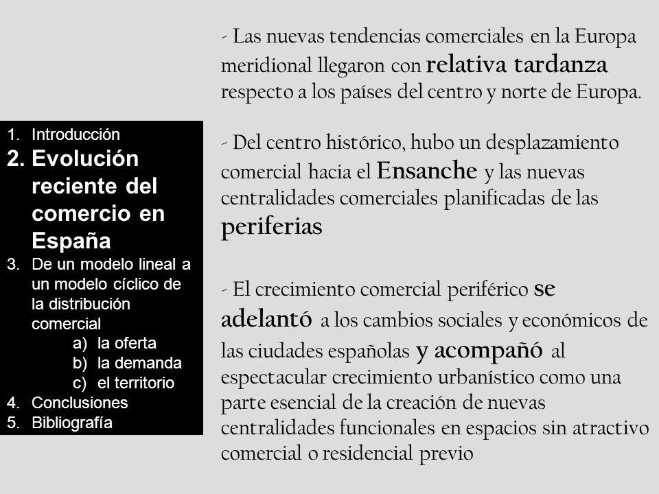 1.Introducción 2.Evolución reciente del comercio en España 3.De un modelo lineal a un modelo cíclico de la distribución comercial a)la oferta b)la demanda c)el territorio 4.Conclusiones 5.Bibliografía - Las nuevas tendencias comerciales en la Europa meridional llegaron con relativa tardanza respecto a los países del centro y norte de Europa.