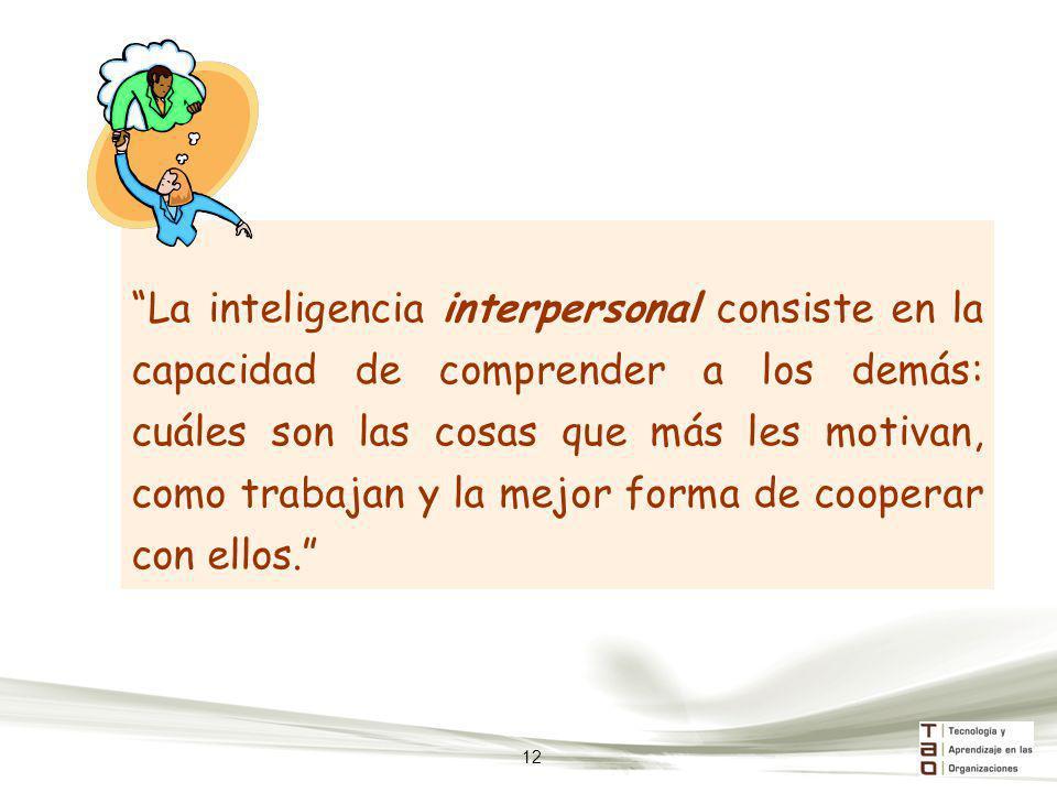 La inteligencia interpersonal consiste en la capacidad de comprender a los demás: cuáles son las cosas que más les motivan, como trabajan y la mejor f
