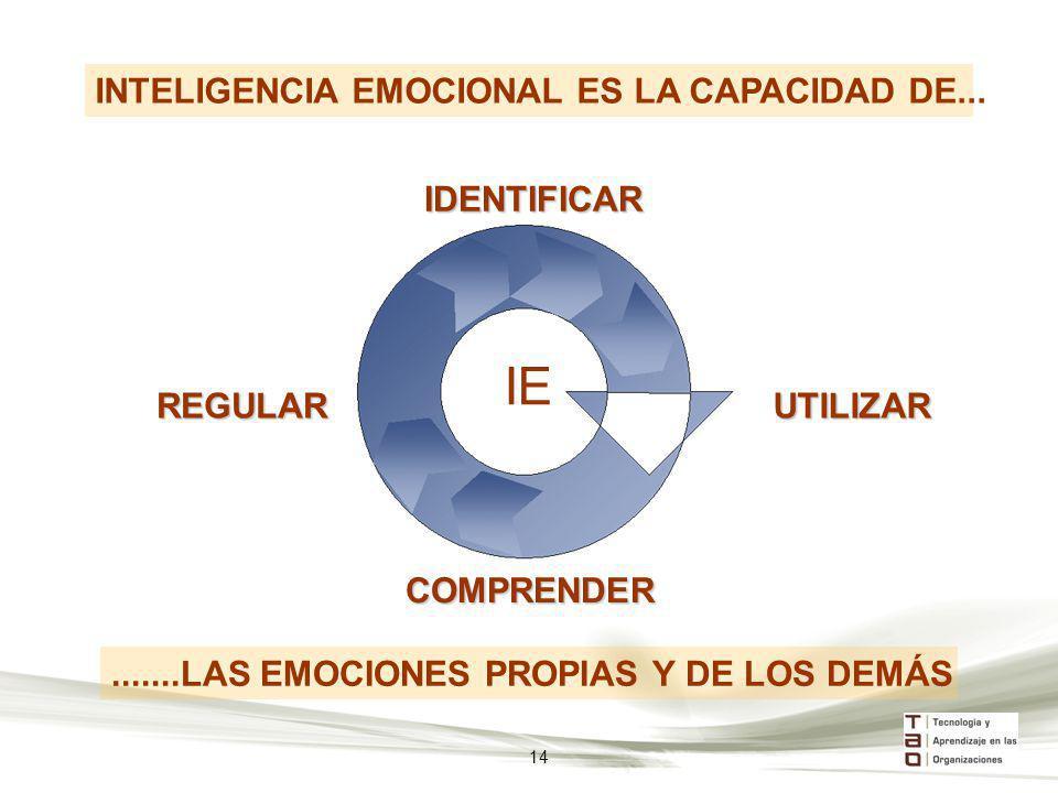 IDENTIFICAR REGULAR COMPRENDER IE.......LAS EMOCIONES PROPIAS Y DE LOS DEMÁS INTELIGENCIA EMOCIONAL ES LA CAPACIDAD DE... UTILIZAR 14