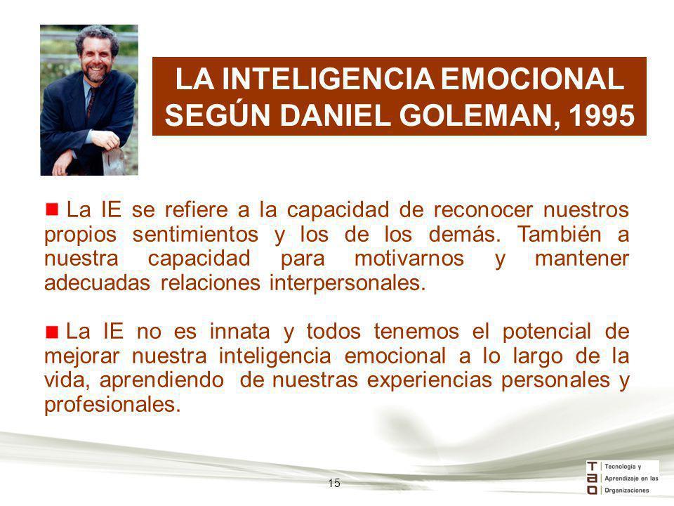 LA INTELIGENCIA EMOCIONAL SEGÚN DANIEL GOLEMAN, 1995 La IE se refiere a la capacidad de reconocer nuestros propios sentimientos y los de los demás. Ta