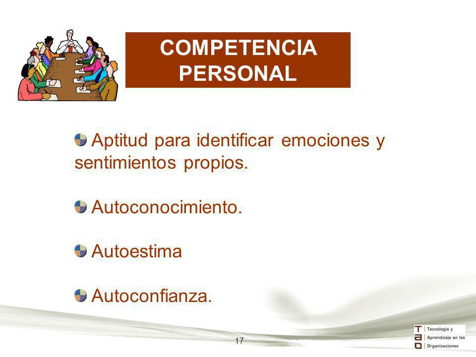COMPETENCIA PERSONAL Aptitud para identificar emociones y sentimientos propios. Autoconocimiento. Autoestima Autoconfianza. 17