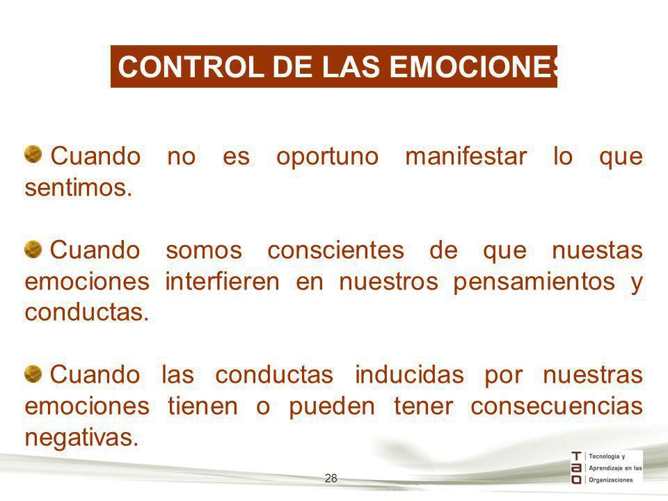 CONTROL DE LAS EMOCIONES Cuando no es oportuno manifestar lo que sentimos. Cuando somos conscientes de que nuestas emociones interfieren en nuestros p