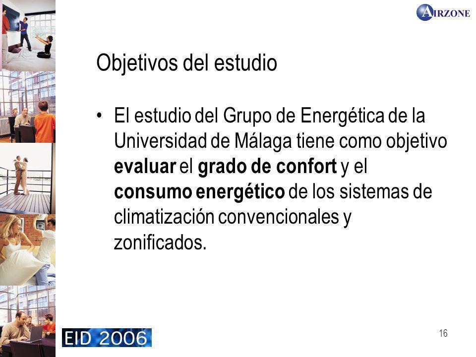16 Objetivos del estudio El estudio del Grupo de Energética de la Universidad de Málaga tiene como objetivo evaluar el grado de confort y el consumo energético de los sistemas de climatización convencionales y zonificados.