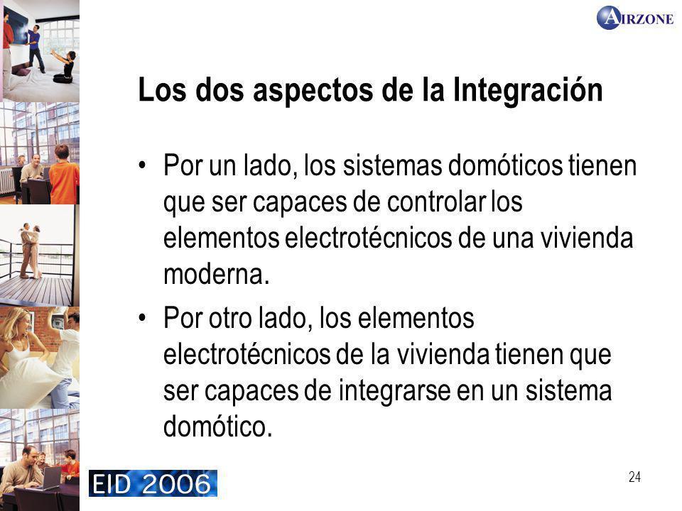 24 Los dos aspectos de la Integración Por un lado, los sistemas domóticos tienen que ser capaces de controlar los elementos electrotécnicos de una vivienda moderna.
