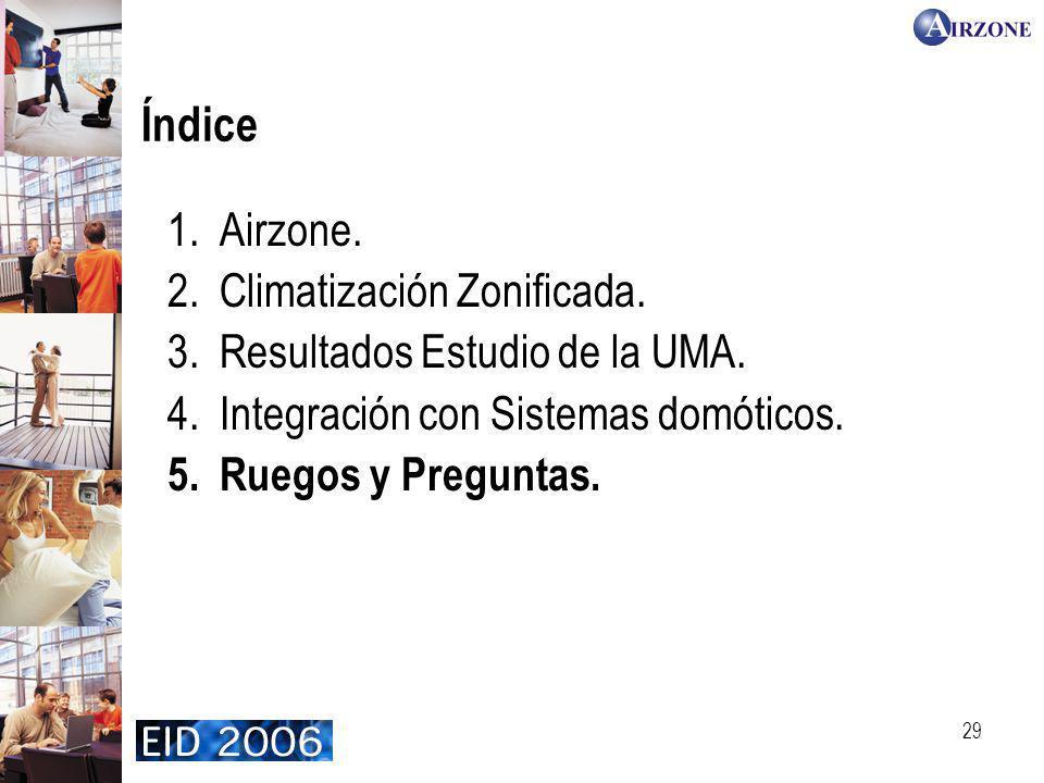29 Índice 1.Airzone. 2.Climatización Zonificada. 3.Resultados Estudio de la UMA. 4.Integración con Sistemas domóticos. 5.Ruegos y Preguntas.