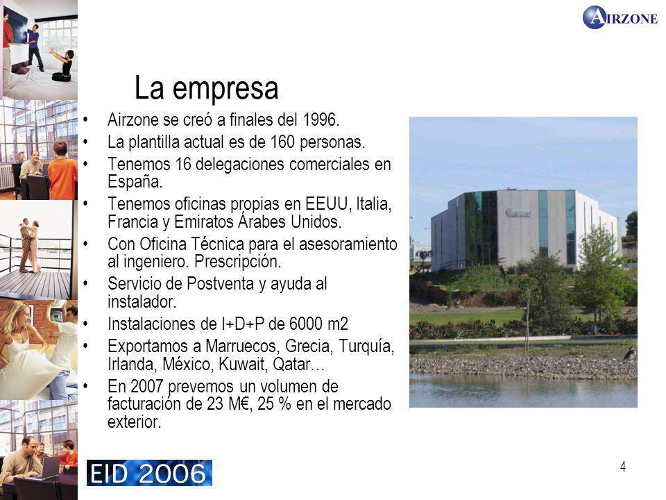 4 La empresa Airzone se creó a finales del 1996. La plantilla actual es de 160 personas. Tenemos 16 delegaciones comerciales en España. Tenemos oficin