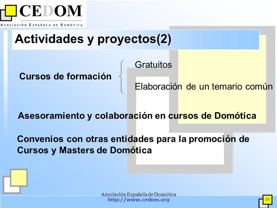 http://www.cedom.org 10 Asociación Española de Domótica Actividades y proyectos(2) Gratuitos Elaboración de un temario común Asesoramiento y colaboración en cursos de Domótica Cursos de formación Convenios con otras entidades para la promoción de Cursos y Masters de Domótica