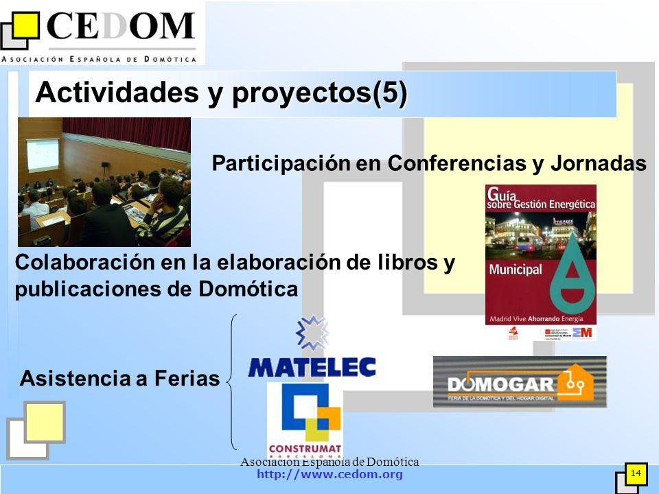 http://www.cedom.org 14 Asociación Española de Domótica Actividades y proyectos(5) Participación en Conferencias y Jornadas Colaboración en la elaboración de libros y publicaciones de Domótica Asistencia a Ferias