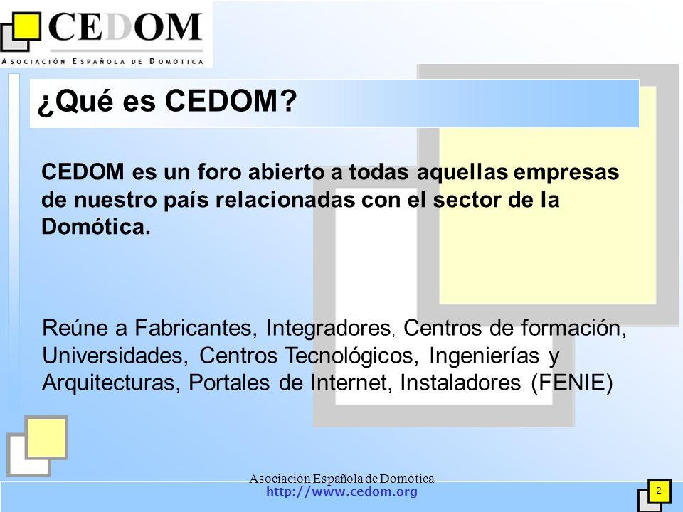 http://www.cedom.org 3 Asociación Española de Domótica Principales objetivos de CEDOM Promocionar y difundir la Domótica e Inmótica, con rigor y neutralidad, en su concepto amplio y en todos sus campos y sectores.