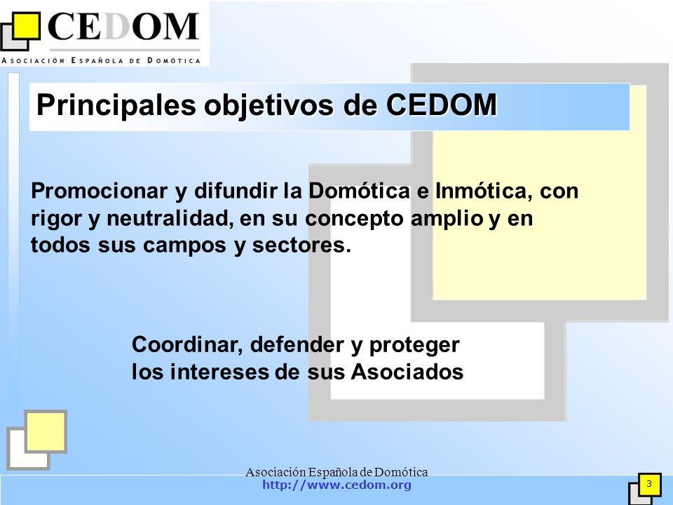 http://www.cedom.org 4 Asociación Española de Domótica Principales objetivos de CEDOM Estudiar, investigar y promover el concepto de Domótica en general, su desarrollo tecnológico y su aplicación en Viviendas y Edificios.