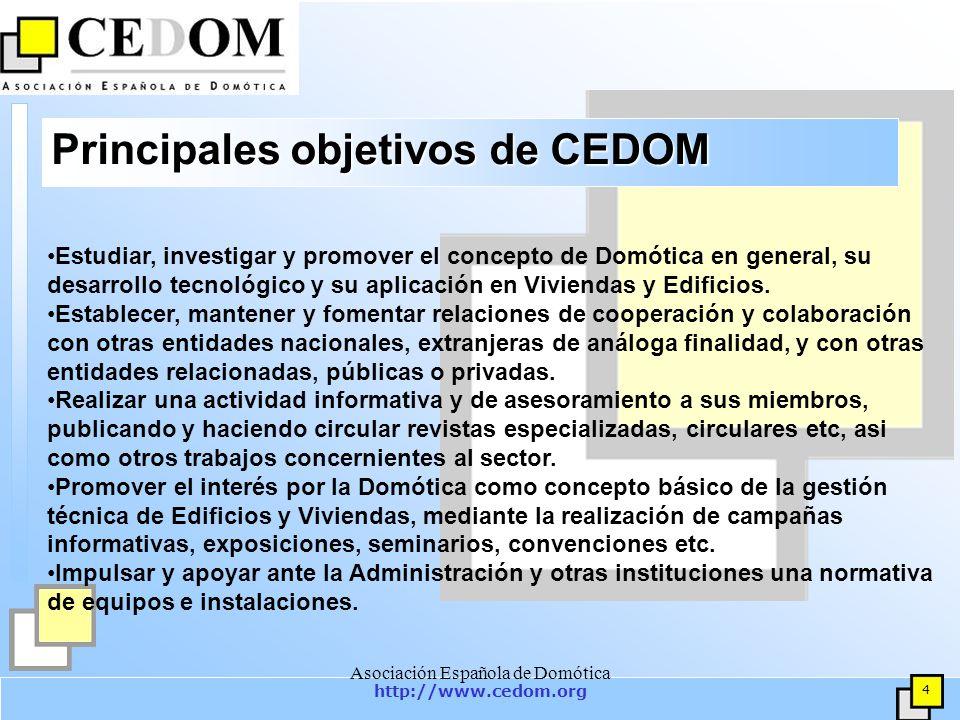 http://www.cedom.org 15 Asociación Española de Domótica Actividades y proyectos(6) Elaboración de publicaciones relacionadas con la Domótica y la Inmótica.