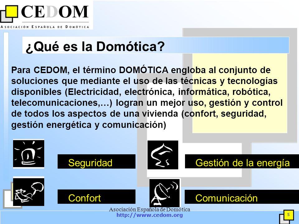 http://www.cedom.org 6 Asociación Española de Domótica Asociados (37) ABB APARELLAJE ELÉCTRICO– UNEX BJC, FABRICA ELECROTECNICA JOSA HOGAR DIGITAL (DOMOTICA.NET) CARLO GAVAZZI CENTROS DE FORMACIÓN DISCED CEDINT CENTRO DE DOMÓTICA INTEGRAL-UPM COMERCIAL DE APLICACIONES ELECTRÓNICAS (CAE) DELTA DORE ELECTRONICA DINITEL 2000 DINUY DOMODESK DOMOVAL ELECTRONIC ENRIQUE TEJEDOR FERNÁNDEZ FAGOR ELECTRÓNICA FERMAX ELECTRÓNICA GEWISS IBÉRICA, S.A.